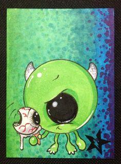 Sugar Fueled Mike Wazowski Monster Inc Ice Cream Scream lowbrow creepy cute big eye ACEO mini print on Etsy, $4.00