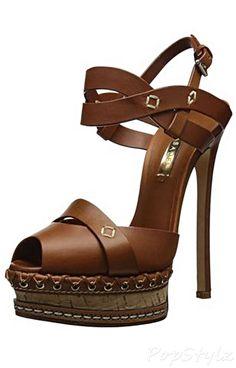 Casadei Cork Italian Leather Dress Sandal | Shoes