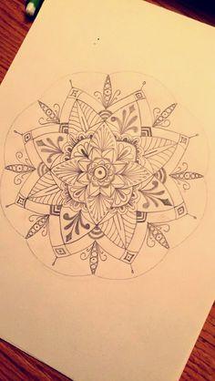 Mandala sketch. Doodle art. Flower mandala. Tattoo idea.