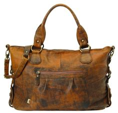 Brown Jungle Leather Slouch Tote Diaper Bag
