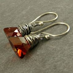 Red Crystal Earrings Faceted Crystals Holiday Jewelry Gifts
