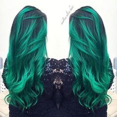 Green ombre hair color for dark hair with highlight~ incredible look from our real girls @candicealice on IG