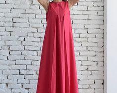 Cotton Candy Pink Maxi Dress / Oversize Loose Casual Dress / Plus Size Pink Kaftan by METAMORPHOZA