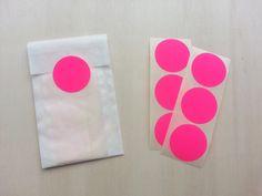 Stickers, rond, neon roze, 50 stuks