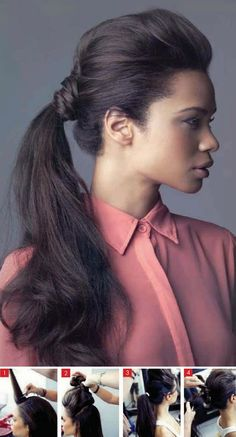 PRACTICAL PONY. Backcomb your hair. Divide your hair horizontally in a top and bottom section. Pin up the top half and tie the bottom half in a low ponytail. Lift the top section, take it backwards and wrap it around the ponytail to conceal the elastic band. Secure the end with a hairgrip. Backcomb the ponytail to give it volume and set with hairspray.