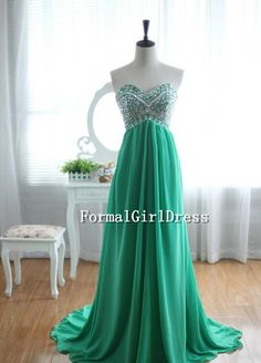 Green Beadings Strapless Sweetheart Empire Rhinestone Long Chiffon Dress Long Bridesmaid Dress Prom Dress Evening Dress Formal Dress also comes in turquoise