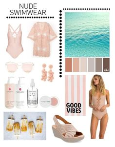 """Nude Swimwear."" by lyndsey-eve-wampler ❤ liked on Polyvore featuring Suboo, Topshop, Gatineau, Herbivore, Quay, Clarks and PBteen"