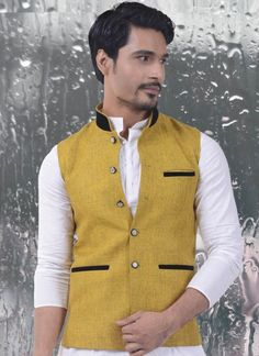 Saffron Yellow Jute Cotton Waist Coat