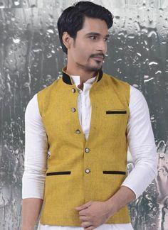 Saffron Yellow Jute Cotton Waist Coat