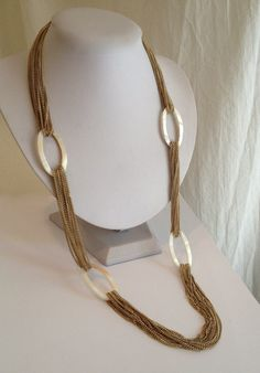 Vintage Long Shimmery Mother of Pearl Estate Jewelry Necklace by WOWTHATSBEAUTIFUL