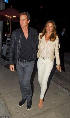 Still going strong! Cindy Crawford holds hands with Rande Gerber as they enjoy a dinner date | Daily Mail Online
