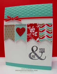 Fresh Prints DSP paper stack – Coastal Cabana, Crumb Cake, Real Red and Whisper White. The sentiment is Perfect Pennants set. pierced heart 2014 Stampin' Up! Cards Ideas, Diy Cards, Stampin Up Karten, Stampin Up Cards, Valentine Love Cards, Valentine Banner, Card Making Inspiration, Card Sketches, Card Tags