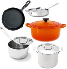 The Kitchn's Guide to Essential Cookware Setting Up a Kitchen:  1. Small 2- to 3-Quart Saucepan with Lid:  2. Large 4-Quart to 2-Gallon Saucepan or Pot with Lid:  3. Medium 10- to 14-inch Sauté Pan with Lid:   4. Medium 10-to 12-inch Cast Iron Skillet or Heavy Skillet with Lid:   5. Medium 10-inch Nonstick Skillet:   6. Medium 5- to 6-Quart Dutch Oven.