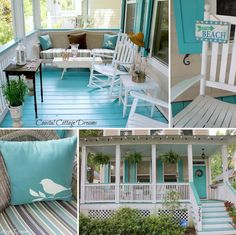 tiffany blue painted concrete and maybe a red door - add some red pillows and black rail and shutters