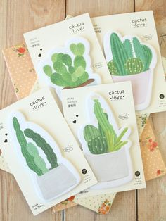 cute cartoon cactus succulent plants shapes sticky noteschoice of 4 designs/ 30 sheets per padcan be used for quick notes and marking pagescan also for scrapbooking Stationary Supplies, Cute Stationary, Planner Supplies, Note Memo, Cute School Supplies, Notes Design, Cactus Art, Sticky Notes, Happy Planner