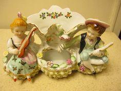 Vintage Hand Painted Vase 4 Pocket Planter Boy Girl instruments #6772 NC Japan