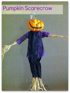 Pumpkin Scarecrow made from a ready made scarecrow ..... Hmmmm... This would be easy!