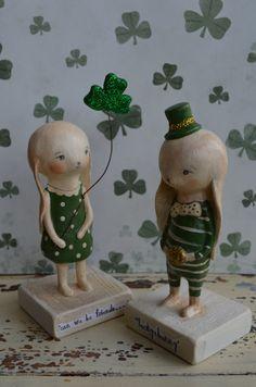 I love these!!  St Patrick's Day Bunny w/ Shamrock by apinchofprim on Etsy, $40.00