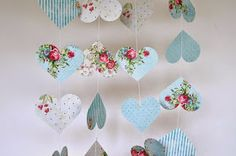 Shabby Chic Hearts Garland Bridal Shower Baby by TheLittleThingsEV Heart Decorations, Birthday Decorations, Baby Shower Decorations, Shabby Chic Hearts, Shabby Chic Baby, Red Garland, Heart Garland, Baby Shower Parties, Shower Baby