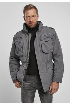 Military Jacket, All Weather Jackets, Charcoal, Vintage, Bomber Jacket, Professional Look, Grey, Sleeves, Urban