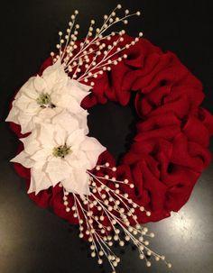 Red burlap with white poinsettias