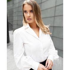 Bell Sleeve Shirt, Bell Sleeves, Dressy White Blouses, Revere Collar, Classic White Shirt, White Shirts Women, Shirt Blouses, Off White, Drama