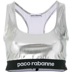 Paco Rabanne logo print high shine cropped top ($97) ❤ liked on Polyvore featuring tops, metallic, grey crop top, grey top, lycra top, metallic crop top and lycra crop top