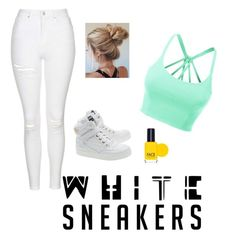 """WHITE SNEAKERS????"" by ollymay1 ❤ liked on Polyvore featuring Topshop, Moschino, LE3NO and FACE Stockholm"