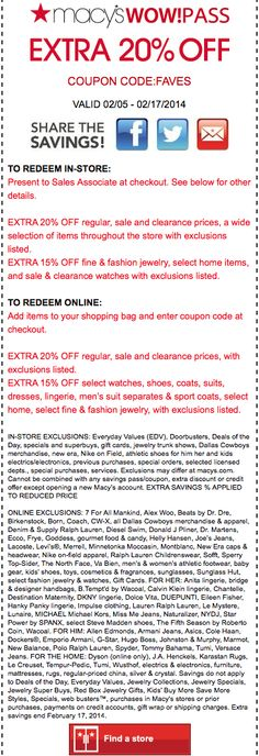 Extra Off at Macy's 20 Off, Coupon Codes, Coupons, Coding, Coupon, Programming