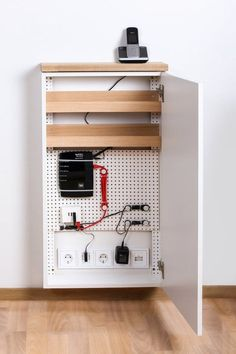 Telefonschrank Tiny Sideboard 5 Chaos reigns around her phone jack. Let WLan routers, chargers, and Perforated Plate, Wifi Router, Wireless Router, Home Network, Smart Home, Wood Paneling, Diy Furniture, Sideboard Furniture, Shelving