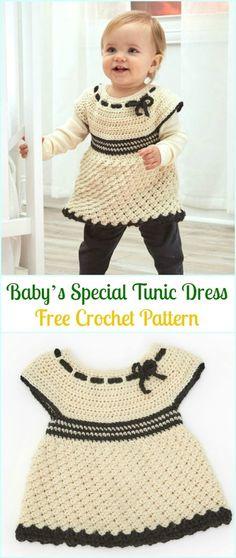 70e9a6fdbe919 Crochet Baby's Special Tunic Dress Free Pattern- #Crochet Girls #Dress Free  Patterns Baby