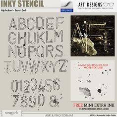 Brush Set: Inky Stencil - Alphabet | ScrapGirls.com by AFT Designs #photoshop #digitalscrapbooking
