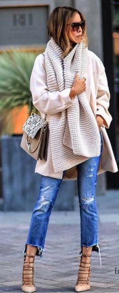 #winter #fashion / Cream Scarf + Light Pink Coat