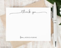 Personalized Notecard Set / Flat Personalized Stationery /