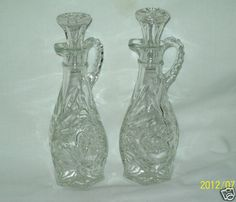 Vintage Anchor Hocking EAPC ~ Star Of David Cruet Set  ~ Beautiful Condition!  $14.99 H