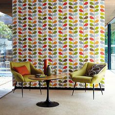 MULTI STEM WALLPAPER This iconic Orla Kiely design makes a real statement on a feature wall. This orginal colour of he multi stem looks great teamed with retro furniture. Décoration Mid Century, Mid Century Decor, Mid Century Design, Harlequin Wallpaper, Retro Wallpaper, Wall Wallpaper, Wallpaper Online, Wallpaper Patterns, Wallpaper Awesome