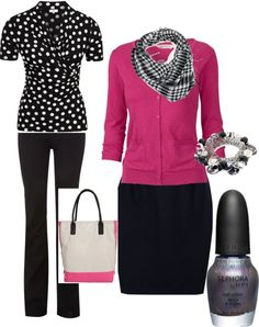 polka dots w/pink, created by jllilly on Polyvore