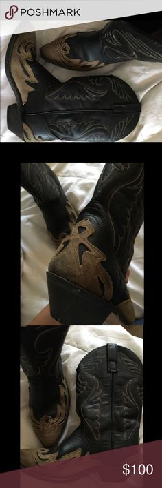 Women's genuine leather cowgirl boots Fit as a size 8 also! Marked as size 7.5 I'm usually a size 8 and they fit great (I just don't wear thick socks with them). Worn a dozen times great boots...don't wear them as much due to work and overtime. If interested you can offer a reasonable price. Ariat Shoes