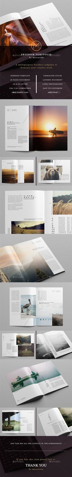 Buy Freedom Portfolio by moscovita on GraphicRiver. The Freedom Portfolio stands out for its clean, modern and creative design. It's a multipurpose template with which t. Indesign Brochure Templates, Flyer Design Templates, Print Templates, Brochure Design Inspiration, Graphic Design Layouts, Photography Brochure, Photography Portfolio, Information Graphics, Editorial Layout
