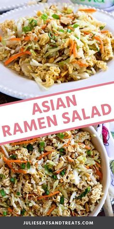 Asian Ramen Salad is the best salad for parties and potlucks! It always makes a great salad for holidays too. We love the crunch from the ramen noodles and it's so easy to throw together! You've got to try this salad today! for parties Asian Ramen Salad Asian Ramen Salad, Asian Coleslaw, Coleslaw Salad, Ramen Salad With Cabbage, Ramen Coleslaw, Cabbage Salad Recipes, Asian Slaw With Ramen Noodles, Oriental Coleslaw, Napa Cabbage Salad