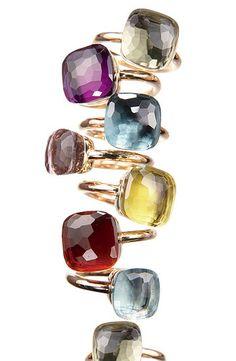Pomellato& signature gold and colored-gemstone Nudo ring. Gems Jewelry, I Love Jewelry, Modern Jewelry, Gemstone Jewelry, Jewelry Gifts, Jewelry Accessories, Fine Jewelry, Jewelry Design, Diamond Jewelry
