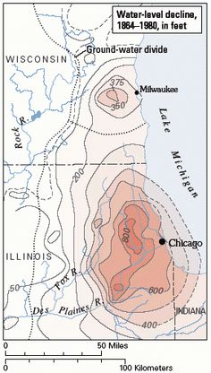 Decline in groundwater levels in the sandstone aquifer, Chicago and Milwaukee areas, 1864-1980.