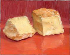 RED CAT: This delicious raw milk cheese is made by Sue Miller at a Philadelphia area farm. Birchrun Hills Farm makes some incredible cheese (see winter issue of Culture Magazine 2011).  The creamy , tangy cheese is a washed rind cheese which adds a lot of salty depth to the entire experience. It was fun to paint, though it started to slump and ooz by the time I finished it.  It's such a strong and wonderful flavor that Im hooked.