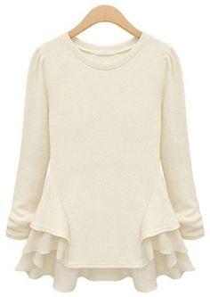 Beige Long Sleeve Contrast Chiffon Ruffles T-Shirt, US$12.83 (Sale): http://rstyle.me/n/g2nt4r6gw  More via the Luscious Shop: www.myLusciousLife.com/shop