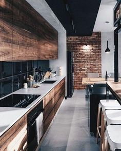Amazing Luxury Kitchen Ideas - Expolore the best and the special ideas about Modern home design Modern Kitchen Interiors, Wood Interiors, Home Decor Kitchen, Interior Design Kitchen, Kitchen Ideas, Kitchen Inspiration, Kitchen Modern, Loft Kitchen, Decorating Kitchen