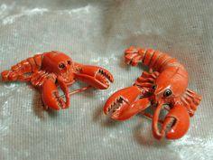 Hee // Vintage Gerrys enamel figural lobster pins