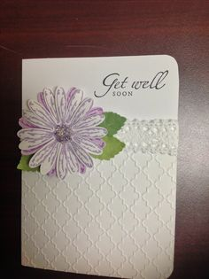 Card by D Marshall using Cricut Mosaic Embossing Folder and Stampin' Up's Daisy Delight stamp and punch. Generic leaf punch and crochet ribbon