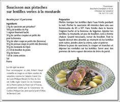 Saucissons aux pistaches sur lentilles vertes à la moutarde