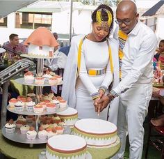 South African Venda Bride, Rachel & Her Groom Tshepo Wore Venda Fabric Inspired Bridal Attires For Their Wedding
