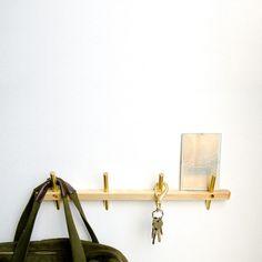 Beautiful wood and gold coat rack